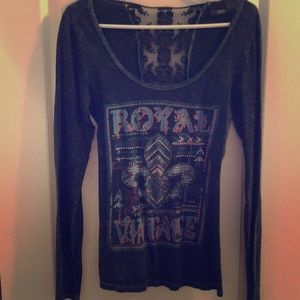 BUCKLE LONG SLEEVE ROYAL VINTAGE TOP